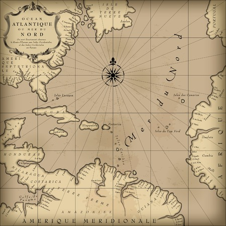 Illustration pour Old geographic map of Atlantic ocean region lands in a free interpretation with text. Vintage chart background. Contain an upper transparent texture what can be easily separated from the map image. Vector Illustration - image libre de droit