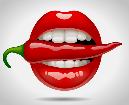 Illustration pour Female sexy mouth with red pepper. Vector Illustration - image libre de droit
