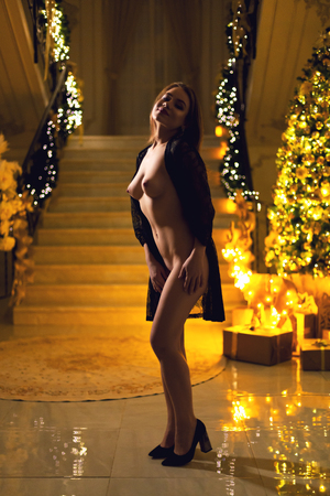 Photo pour Gorgeous young woman with a beautiful natural breasts staying naked or nude with a black lace peignoir on her shoulders on a Christmas interior background and luminous garland on a new year eve. - image libre de droit