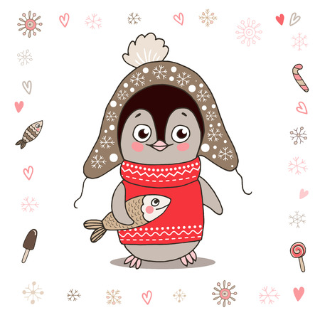 Ilustración de Cute little penguin in warm clothes with fish. Illustration on white background with lovely frame made of snowflake. - Imagen libre de derechos