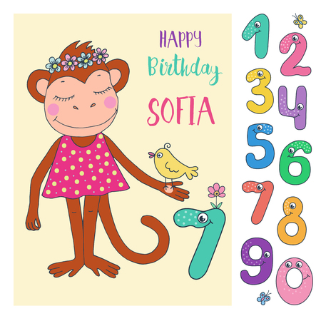 Cute monkey with cute and funny colorful number characters