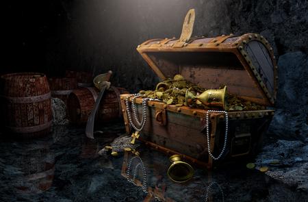 Photo pour Pirate's chest in a dark cave - image libre de droit