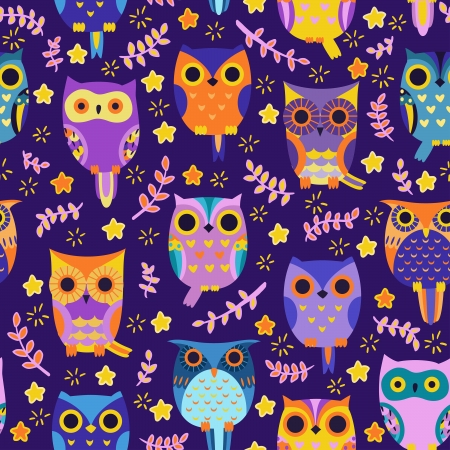 Illustration pour Cute owls vector seamless pattern. - image libre de droit