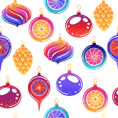 Ilustración de Seamless pattern with Christmas toys and sweets.  Vector illustration. Stylish graphic design in beautiful modern colors. - Imagen libre de derechos