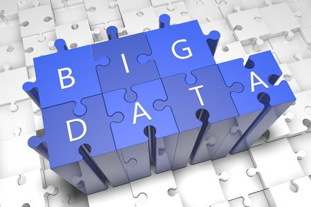 Foto de Big data - puzzle 3d render illustration with text on blue jigsaw pieces stick out of white pieces - Imagen libre de derechos