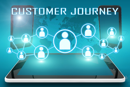 Foto de Customer Journey - text illustration with social icons and tablet computer and mobile cellphones on cyan digital world map background - Imagen libre de derechos