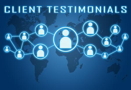 Foto de Client Testimonials concept on blue background with world map and social icons. - Imagen libre de derechos