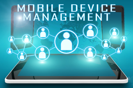 Foto per Mobile Device Management - text illustration with social icons and tablet computer and mobile cellphones on cyan digital world map background - Immagine Royalty Free