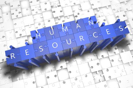 Photo pour Human Resources - puzzle 3d render illustration with block letters on blue jigsaw pieces - image libre de droit
