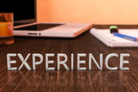 Foto de Experience - letters on wooden desk with laptop computer and a notebook. 3d render illustration. - Imagen libre de derechos