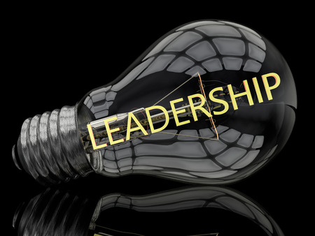 Photo for Leadership - lightbulb on black background with text in it. 3d render illustration. - Royalty Free Image