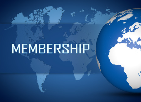 Photo for Membership concept with globe on blue world map background - Royalty Free Image
