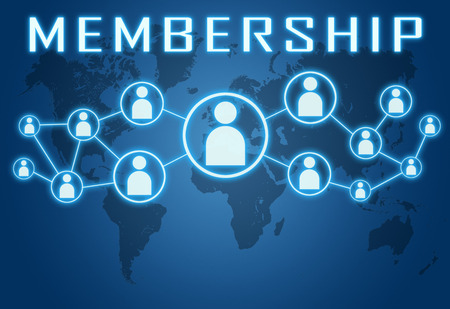 Photo for Membership concept on blue background with world map and social icons. - Royalty Free Image