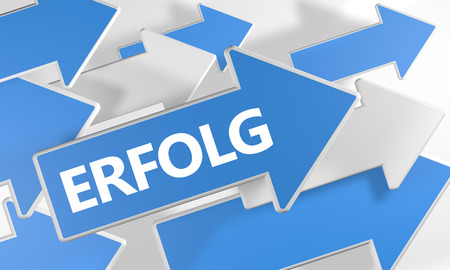 Erfolg - german word for success or achievement - 3d render concept with blue and white arrows flying over a white background.