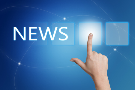 Photo for News - hand pressing button on interface with blue background. - Royalty Free Image