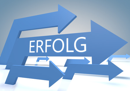 Erfolg - german word for success or achievement - render concept with blue arrows on a bluegrey background.