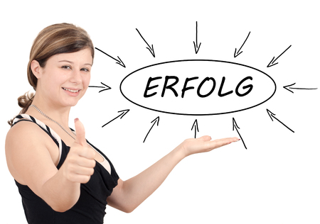 Erfolg - german word for success - young businesswoman introduce process information concept. Isolated on white.