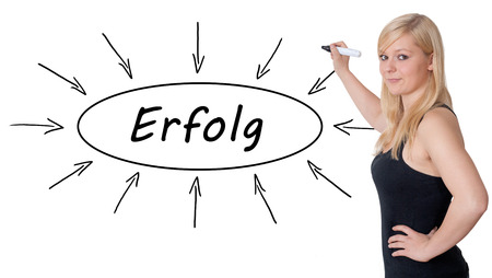 Erfolg - german word for success - young businesswoman drawing information concept on whiteboard.