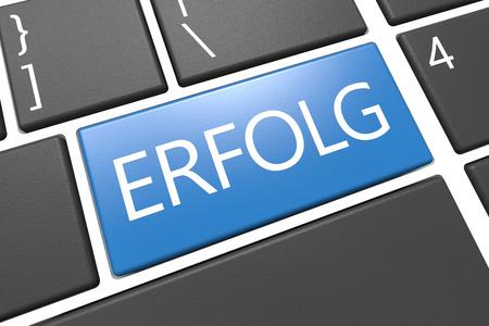 Erfolg - german word for success - keyboard 3d render illustration with word on blue key