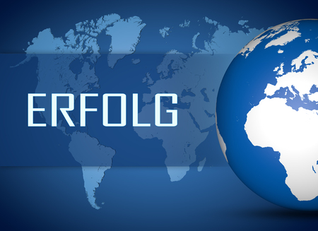 Erfolg - german word for success concept with globe on blue world map background