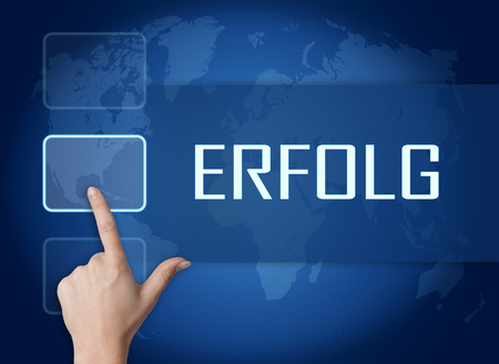 Erfolg - german word for success concept with interface and world map on blue background