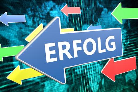 Erfolg - german word for success - text concept on blue arrow flying over green world map background. 3D render illustration.