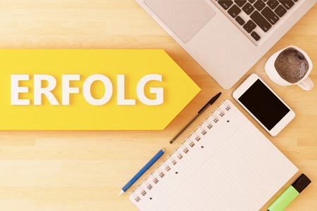 Erfolg - german word for success - linear text arrow concept with notebook, smartphone, pens and coffee mug on desktop - 3d render illustration.