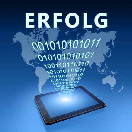 Erfolg - german word for success - text with tablet computer on blue digital world map