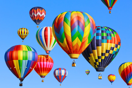 Photo for Colorful hot air balloons over blue sky - Royalty Free Image