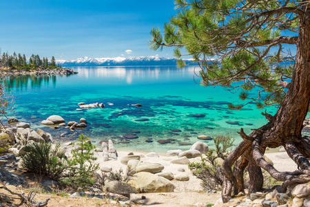 Photo pour Turquoise waters of Lake Tahoe - image libre de droit