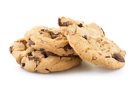 Photo pour Chocolate chip cookies isolated on white background. - image libre de droit