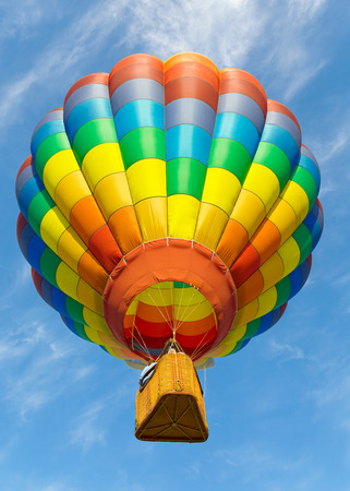 Photo for Colorful hot air balloon flying up. - Royalty Free Image
