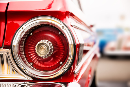 Foto de Photograph of classic car with close-up on taillights - Imagen libre de derechos