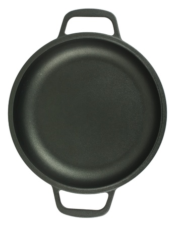 Pan with two handles, top view, isolated on white background