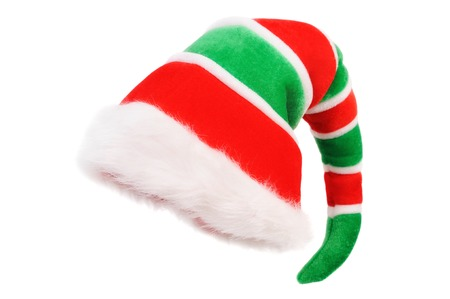 Photo for Red Green Cap of the Christmas Elf. Isolated over white - Royalty Free Image