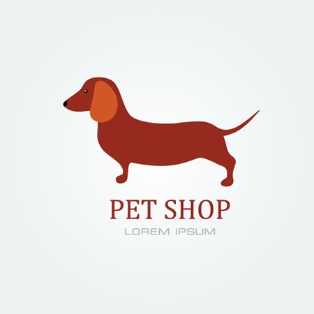 Pet shop Dog standing silhouette vector logo design template.