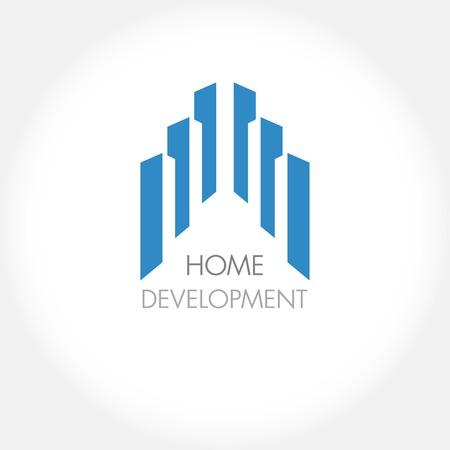 Foto de Abstract construction or real estate company logo design. Vector icon with buildings and houses - Imagen libre de derechos