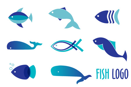 Illustration pour Vector illustration of blue colors fishes. Abstract fish logo set for seafood restaurant or fish shop - image libre de droit