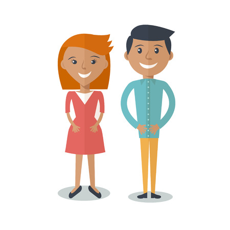 Ilustración de Happy  Smiling  Couple in Flat Style. Man and woman in casual clothing isolated on white background. Vector modern illustration - Imagen libre de derechos