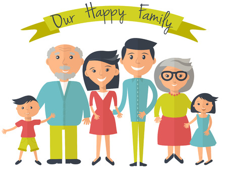 Illustrazione per Happy family illustration. Father mother grandparents son and dauther portrait with banner. - Immagini Royalty Free
