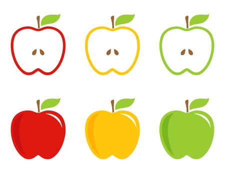 Illustration pour Yellow, green and red stylized apples. Apples  whole and half in bright colors. Vector, icon, sign. - image libre de droit