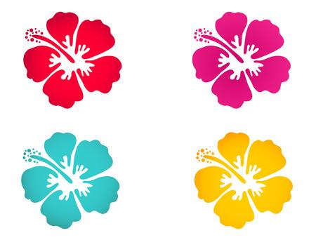 Ilustración de Hibiscus flower set in bright colors. Surfing, holiday and tropical symbol - Imagen libre de derechos