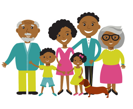 Illustration for Happy African American family of six members: parents,their son and daughter, and grandparents with their dog. Vector illustration - Royalty Free Image