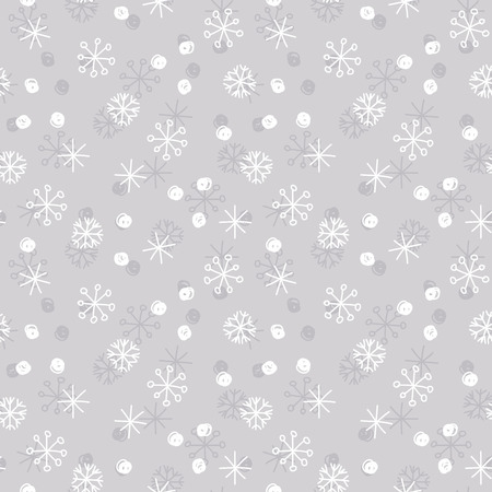 Illustration pour Vector seamless winter pattern background with white and grey snowflakes on silver grey background. Can be used for textile, parer, scrapbooking, wrapping, web and print design - image libre de droit