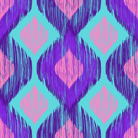 Ilustración de Bright neon colors seamless trenfy pattern. Ethnic tribal colorful smudged ikat print. Vector seamless background - Imagen libre de derechos