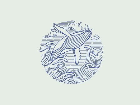 Ilustración de breaching humpback whale logo - Imagen libre de derechos