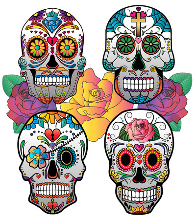 Illustration for Set of 4 vector sugar skulls for day of the dead - Royalty Free Image