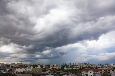 Photo for Sky Grey-cloud and heavy rain at Bangkok, Thailand. - Royalty Free Image