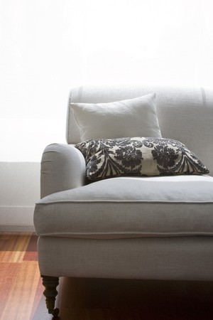 Close-up of a couch in a living room