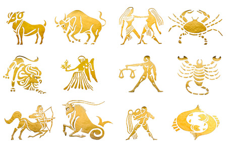 Photo pour Zodiac and star signs horoscopes isolated on white - image libre de droit